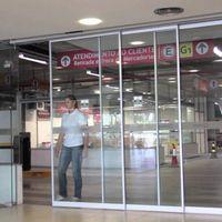 Porta automática telescópica de vidro